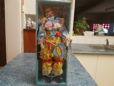 Thomas Trent Colonial Cottage Porcelain Clown Doll - New in Box -