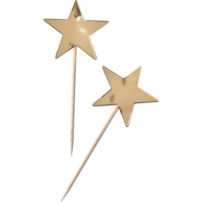 Ginger Ray Gold Foil Star Cupcake Picks 10 Pack Decoration Sticks Party
