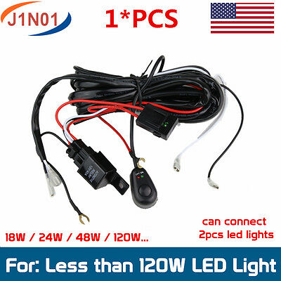 Wiring Harness Kit 40A 12V ON/OFF Switch Relay For LED Work Light Bar 18W 24W...