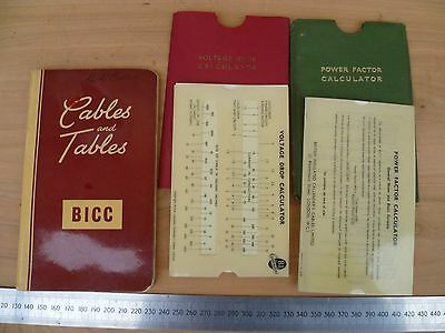 Vintage Old Insulator Cables & Tables Book & Slide Rules Lot (G148)