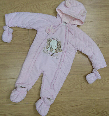 Rock A Bye Baby Girl Snowsuit Age 6-9-12 Months Quilted New