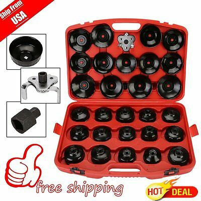 USA Auto Cup Type Oil Filter Cap Wrench Socket Removal Tool Set W/case 30Pcs Pro