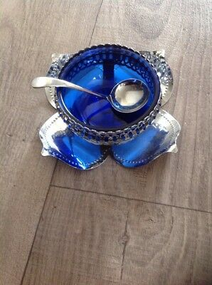 vintage blue glass with spoon