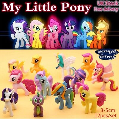 My Little Pony Friendship is Magic Mini Figures/Cake Topper/Party Bag Filler x12