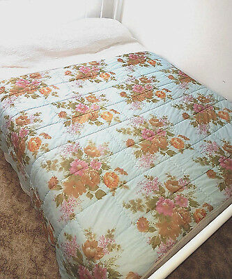 Vintage 60s Quilt Bed Topper~ Pastel Blue  Pink Floral Roses~Marken Poly~ Single