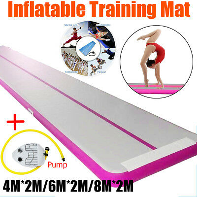 6/8M Inflatable Gym Air Tumbling Track Floor Gymnastics Cheerleading Mat + Pump
