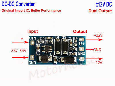 Mini3V~5V to ±12V Dual Channel Output Converter USB Step Up Boost Voltage Module