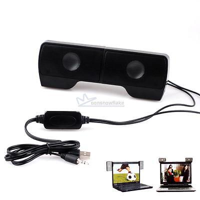 Black Mini Portable USB Clip-On Speaker for MP3 TV Laptop PC Phone Music Players