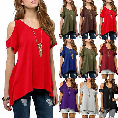 AU Womens Summer Cold Shoulder Loose Top Short Sleeve Blouse Casual Tops T-Shirt