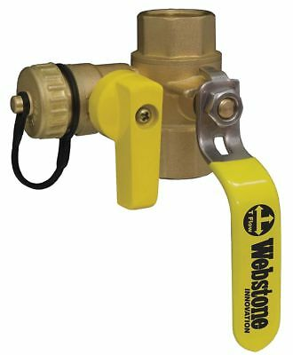 """Webstone Brass IPS x IPS x Hose Cap Ball Valve with Drain, Lever, 1/2"""" Pipe Size"""