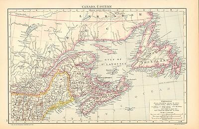 1892 Victorian Map ~ Canada East New Brunswick Ontario Newfoundland North America Maps Antiques