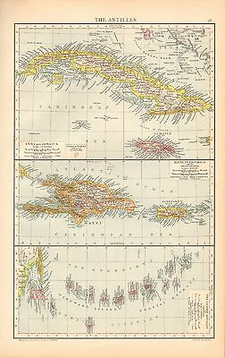 1893 Antique Map - The Antilles, Cuba, Haiti, Lesser Antilles