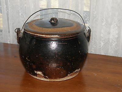 vintage crock bean pot with lid & wire  handle