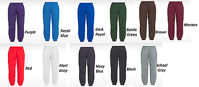 Boys Girls Kids Jogging Pants Plain Joggers ECO Sweat Pants Kids Ages 1-13 Yrs