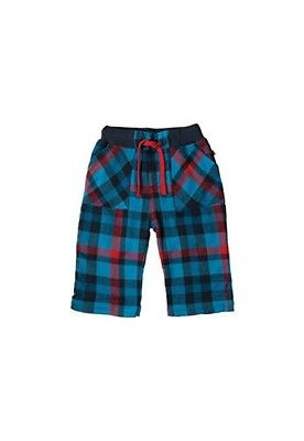 Frugi harbour blue checked little boys snugs lined trousers 2-3yrs BNWT new