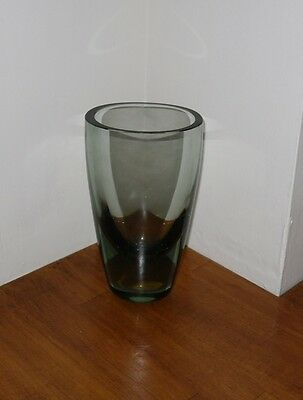 Smokey Green Glass Vase - Believed Holmegaard - Incorrectly Marked on Base