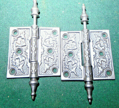 "Pair Vintage Eastlake Hinges  3""  X 3""  Steeple Top - Beautiful  (9327)"