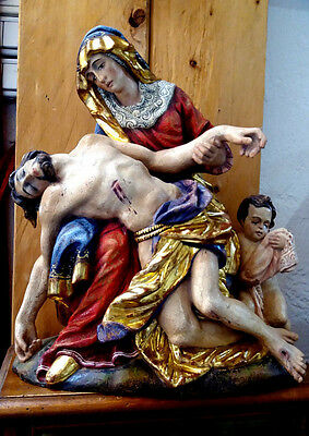 Schmuckvolle Antike Pieta, Madonna Holz, Holy Mary woodcarving