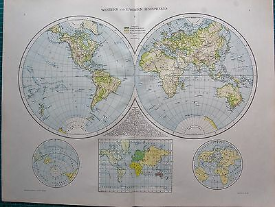1893 Antique Map - The World, Western And Eastern Hemispheres