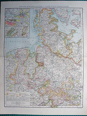1893 Antique Map - Hanover, Schleswig Holstein And Lesser North German States