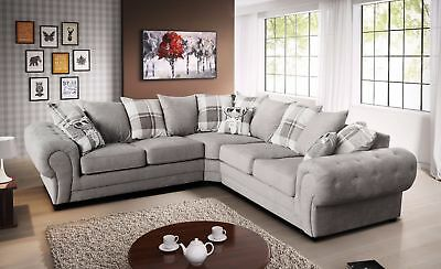 Parker Fabric Chesterfield Silver Corner Sofa with Scatter Cushion Victorian