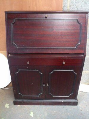DARK STAINED TEAK BUREAU  possible shabby chic project