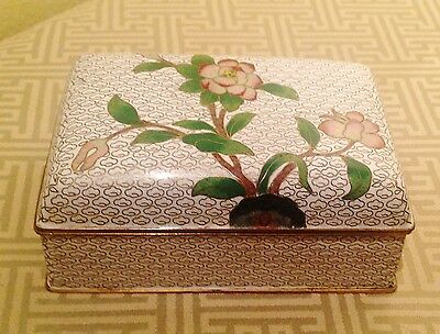 Fine Large 20th Century Chinese Heavy White Cloisonne Box Cherry Blossom Design