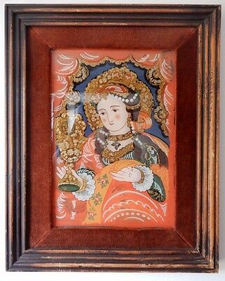 Wood Framed with Velvet Indian Reverse Painted Picture on Glass.