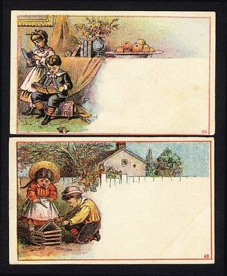 GREAT EASTERN TEA San Francisco 2 Trade Cards 1880's Victorian Children Reading