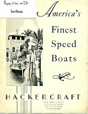 Vintage 1931 Hackercraft Boat Brochure Sales Catalog With Original Mail In Card