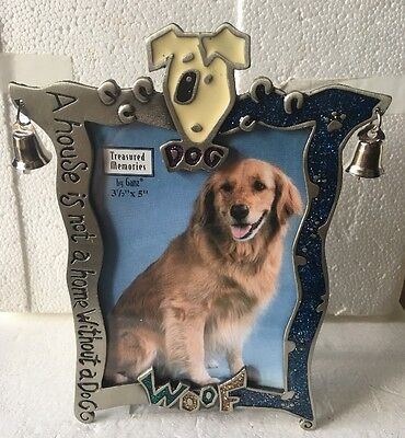 "NEW Ganz Dog ""Woof"" Pewter Picture Frame (3 1/2 x 5"")"