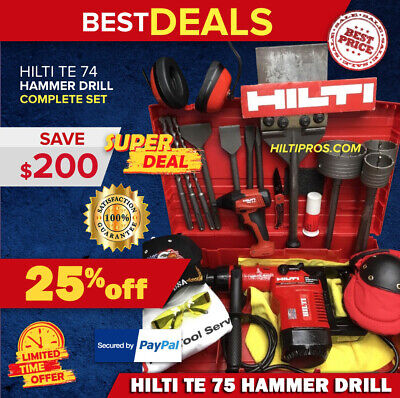 Hilti Te 74 Hammer Drill, Preowned, Free Sid 2-A, Bits, Extras, Fast Ship