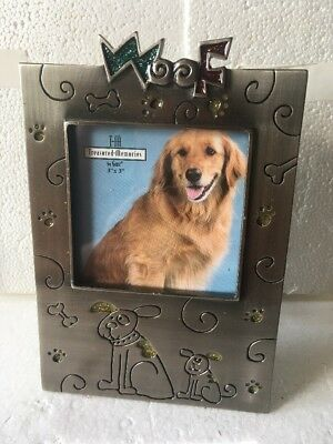 """NEW Ganz Dog """"Woof"""" Pewter Picture Frame (3"""" X 3"""")"""