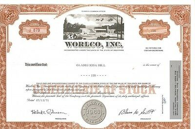 WORLCO, Inc. > 1968 World Life and Health Insurance old stock certificate share