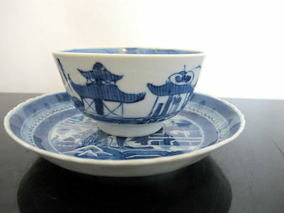 Antique CHINESE Porcelain Traditional CANTON Blue Tea Bowl Cup & Saucer