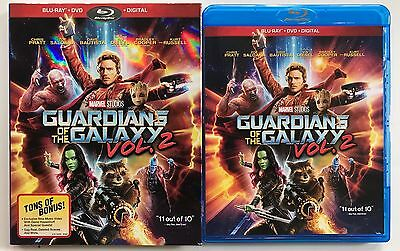 Marvel Guardians Of The Galaxy Vol 2 Blu Ray Dvd 2 Disc Set + Slipcover Sleeve