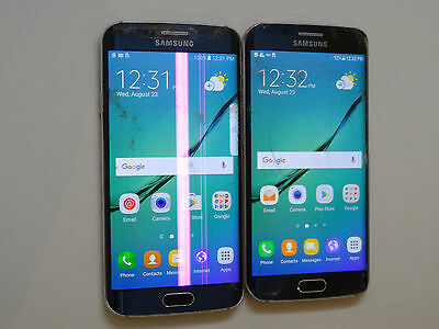 Lot of 2 Samsung Galaxy S6 Edge SM-G925P 32GB Sprint Smartphones Power On AS-IS
