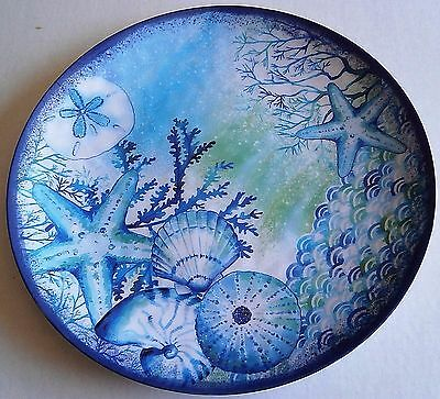 "Coastal Serving Platter  BLUE SEASHELLS AND CORAL 17.5"" Diameter"