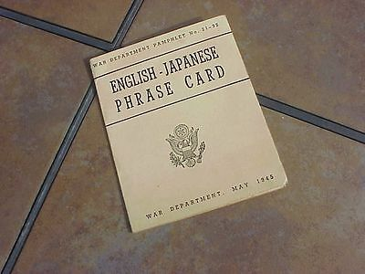 Original Wwii Us English-Japanese Phrase Card