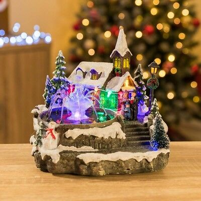 LED Christmas Village Church Scene Musical Table Top Fountain Indoor Decoration