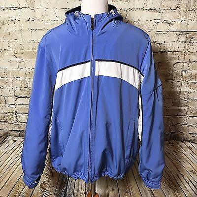 Mens Pacific Trail Blue White Hooded Jacket Size Large Polyester Full Zip Coat
