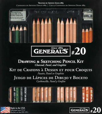 General's Drawing & Sketching 22 Piece Pencil Kit - Charcoal, Pastel & Graphite
