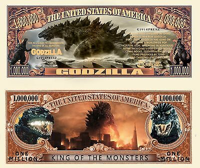 Godzilla Million Dollar Bill Fake Play Funny Money Novelty Note with FREE SLEEVE