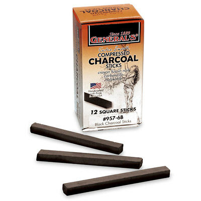 General's - Compressed Charcoal Sticks - Box of 12 - 6B