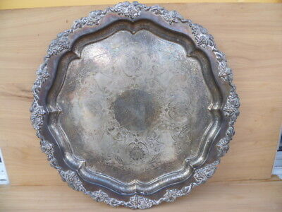 OLD VERY LARGE EPNS & COPPER DECORATION SERVING DRINKS TRAY 410mm (G234)