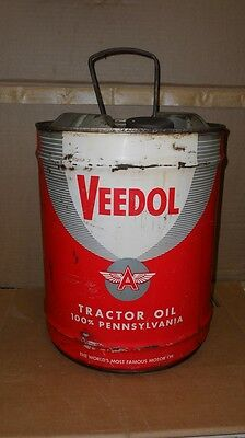 Vintage Veedol Tractor Oil 5 Gallon Oil Can  All Metal Nice