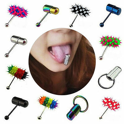 Unisex Surgical Steel Vibrating Tongue Bar Ring Stud Body Piercing Bar Key Ring