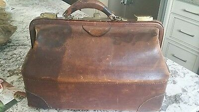 Antique Large Doctor Bag Cowhide Leather Medical Medicine Bag Original
