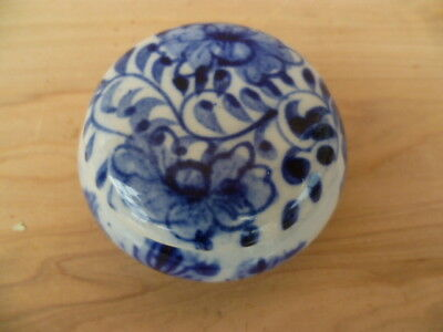 Vintage Old Blue & White Hand Painted Trinket Box, Old Case (G244)