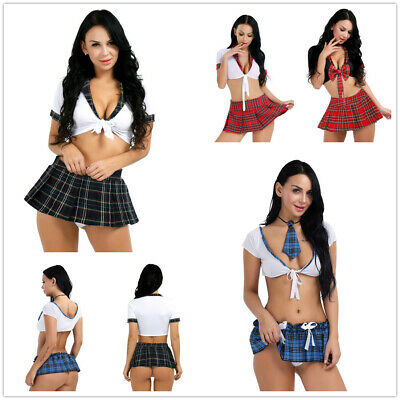 School Girl Sexy Costume Cosplay Uniform Role Play Mini Plaid Skirt Halloween